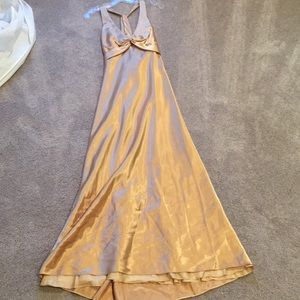 Gorgeous gold halter gown 7/8 floor length NWT